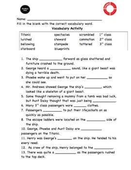 I Survived the Sinking of the Titanic - VOCABULARY, Activity & Word Wall-FREE!