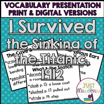 I Survived the Sinking of the Titanic, 1912 Vocabulary Presentation