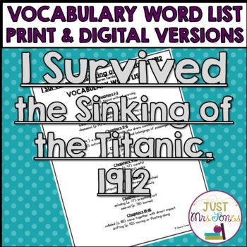 I Survived the Sinking of the Titanic, 1912 Vocabulary Word List