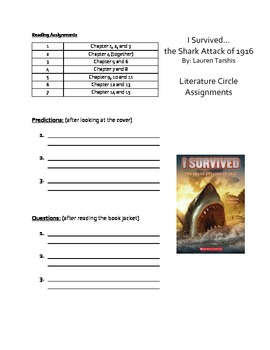"""""""I Survived...The Shark Attack of 1916"""" Literature Guide"""