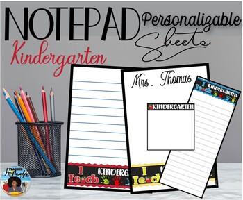 """I Teach Pre-Kindergarten"" Notepad Sheets Set {Editable}"