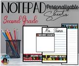 """I Teach Second Grade"" Notepad Sheets Set {Editable}"