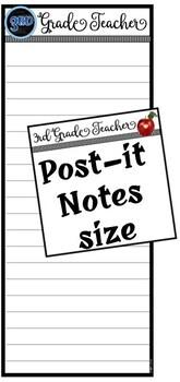 Third Grade Teacher Notepad Sheets Set {Editable}