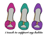 I Teach To Support My Habits - Stiletto Shoe Poster Pink P