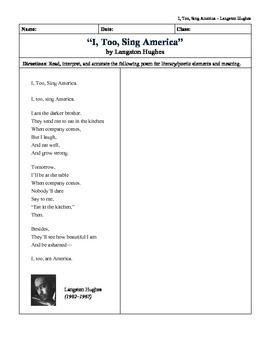 """""""I, Too, Sing America"""" by Langston Hughes: Quick Picture Analysis"""