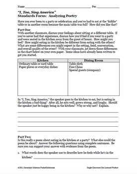I, Too, Sing America by Langston Hughes Activity Pack and Quiz