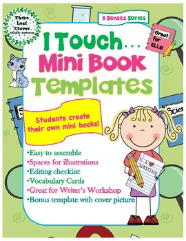 I Touch Mini Books Template - with Vocabulary Cards - 5 Senses