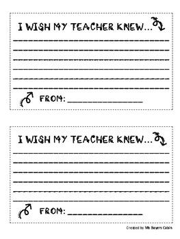 I WISH MY TEACHER KNEW AND NOW I KNOW