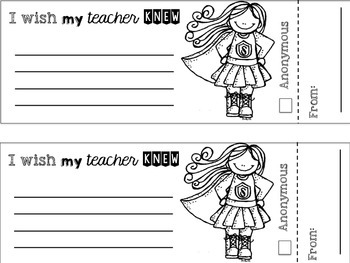 I WISH MY TEACHER KNEW FREEBIE