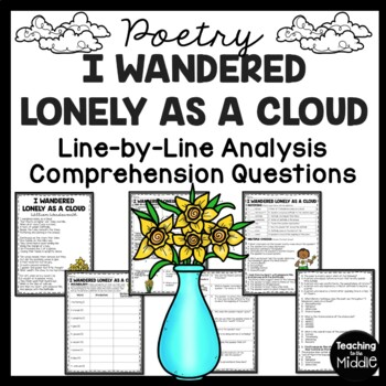 I Wandered Lonely As A Cloud Poem Reading Guide, Reading Comprehension Worksheet