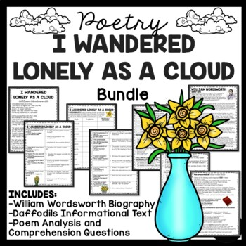 I Wandered Lonely As A Cloud Poetry Bundle, Paired Passages, Fiction, NF