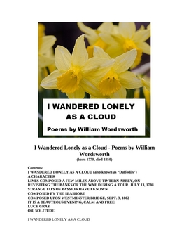 I Wandered Lonely As a Cloud - Poems by William Wordsworth