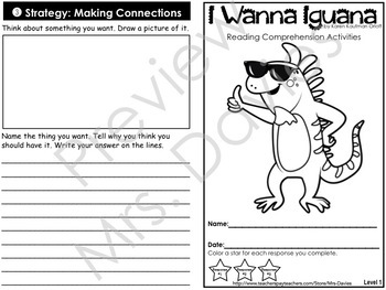 I Wanna Iguana Leveled Reading Comprehension Strategies