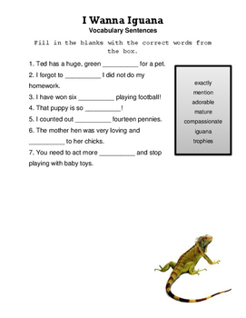 I Wanna Iguana Reading Street vocabulary