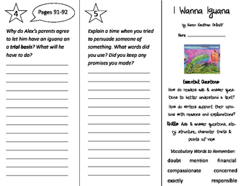 I Wanna Iguana Trifold - ReadyGen 2016 2nd Grade Unit 2 Module B