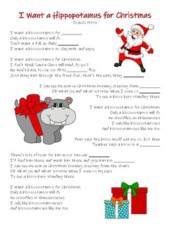 I Want a Hippopotamus for Christmas Song Worksheet