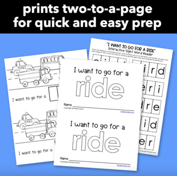 "Interactive Sight Word Reader ""I Want to go for a Ride"""