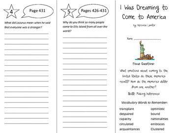 I Was Dreaming to Come to America Trifold - Imagine It 6th Grade Unit 4 Week 3