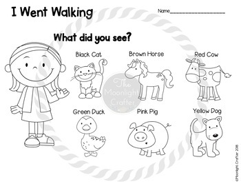 I Went Walking Sequencing and Retelling Materials