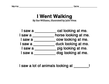 I Went Walking by Sue Williams - Sequencing and Adjectives