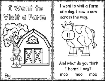 I Went to Visit a Farm One Day (Pocket Chart Activity)