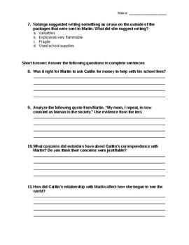 I Will Always Write Back Novel Quiz Part 3 with answer key