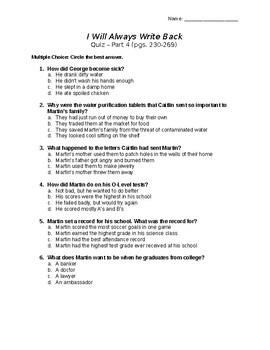 I Will Always Write Back Novel Quiz Part 4 with answer key