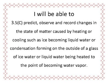 I Will Be Able To... 5th Grade Science TEKS printable