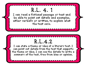 """I Will"" Common Core ELA State Standards Visual Aids (4th Grade)"
