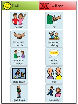 I Will. I Will Not. Sibling Behavior Chart.