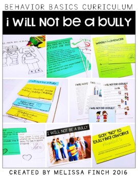 I Will Not Be a Bully- Behavior Basics Program for Special Education