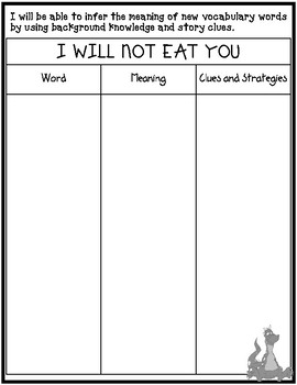 I Will Not Eat You by Adam Lehrhaupt Inferring Vocabulary Lesson