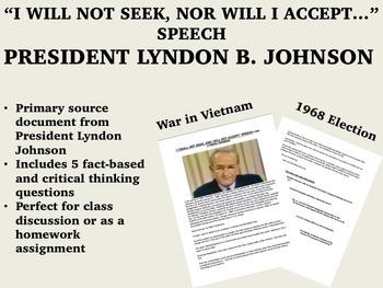 """I Will Not Seek..."" speech - Lyndon B. Johnson (LBJ) - 1960s - USH/APUSH"