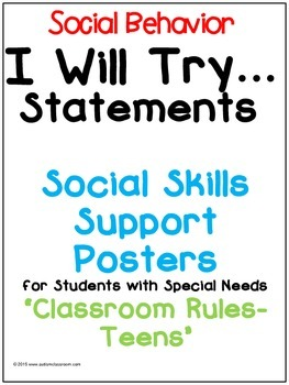 I Will Try Statements- Social Skills Support Posters (Classroom Rules- Teens)