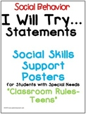 Social Skills Support Posters - I Will Try Statements - (C