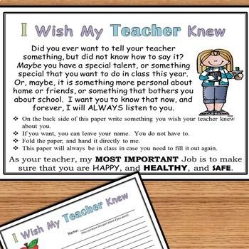 I Wish My Teacher Knew...