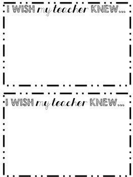 I Wish My Teacher Knew...Printable - Freebie