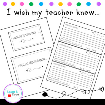 I Wish My Teacher Knew... Cards and Labels