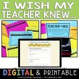 I Wish My Teacher Knew... Form for Students