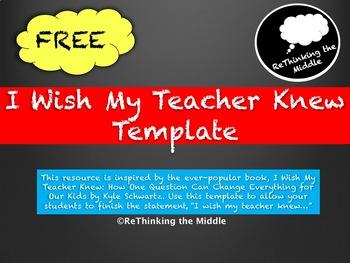 I Wish My Teacher Knew Template