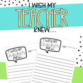 I Wish my Teacher Knew... Writing Prompt Letter