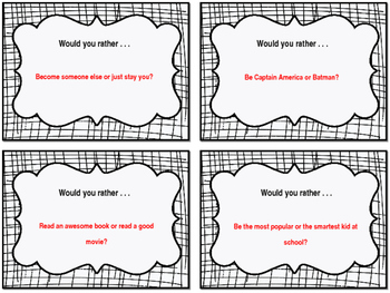 Would You  Rather - First Week of School Ice Breaker