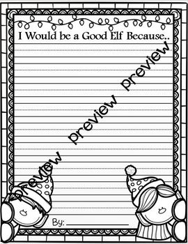 I Would be a Good Elf Because ~ Writing Activity