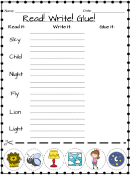 I, Y, and Igh Worksheets