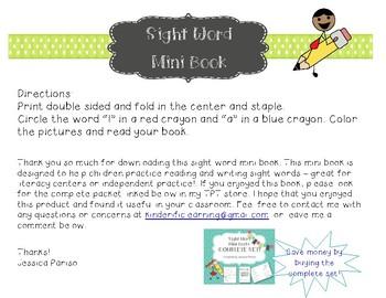 I & a Sight Word Mini Book FREEBIE!
