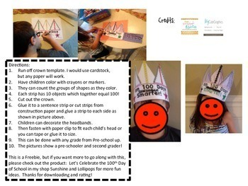 Free 100th Day of School Crown and Certificate