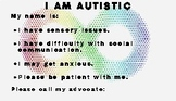 I am Autistic Information cards