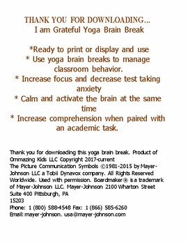 I am Grateful Yoga Brain Break