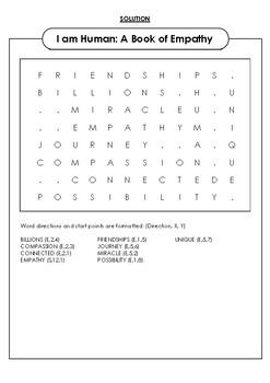 I am Human: A Book for Empathy Word Search