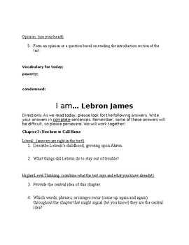 I am... Lebron James Non-fiction Unit